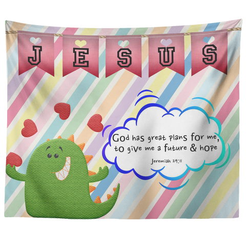 Uplifting Nursery & Kids Room Tapestry - God Has Great Plans For Me ~Jeremiah 29:11~ (Design: Dinosaur)