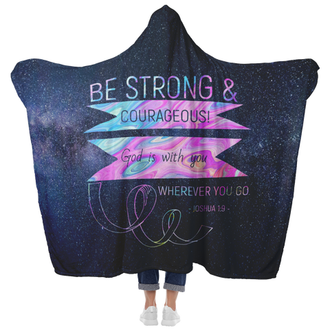 Bible Verses Hooded Blanket - Joshua 1:9 Design 2