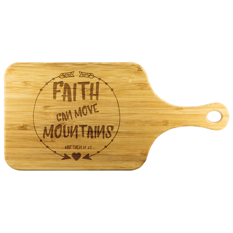 Bible Verses Wood Cutting Board With Handle - Matthew 17:20 (Design 7) - Meditate Healing Christian Store