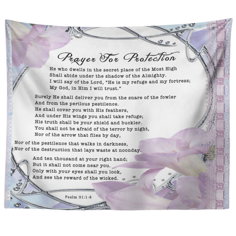 Bible Verses Tapestry Prayer for Protection ~Psalm 91:1-8~ (Design: Flower Frame 3)