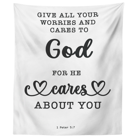 Minimalist Typography Tapestry - Casting Your Care Upon Him ~1 Peter 5:7~
