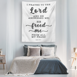 Minimalist Typography Tapestry - The Lord Delivered Me From All My Fears ~Psalm 34:4~