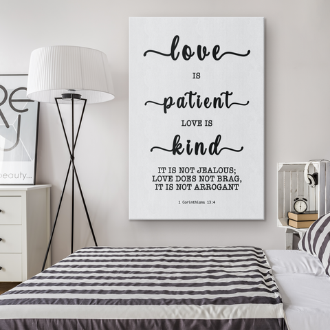 Minimalist Typography Framed Canvas - Love Is Patient Love Is Kind ~1 Corinthians 13:4~