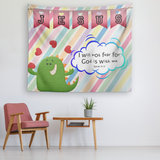 Uplifting Nursery & Kids Room Tapestry - God Is With Me ~Isaiah 41:10~ (Design: Dinosaur)