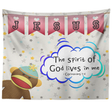 Hope Inspiring Nursery & Kids Bedroom Tapestry - Spirit Of God Lives In Me ~1 Corinthians 3:16~ (Design: Monkey)