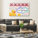 Hope Inspiring Nursery & Kids Bedroom Framed Canvas Wall Art - I Am A Child Of God ~John 1:12~ (Design: Duck)