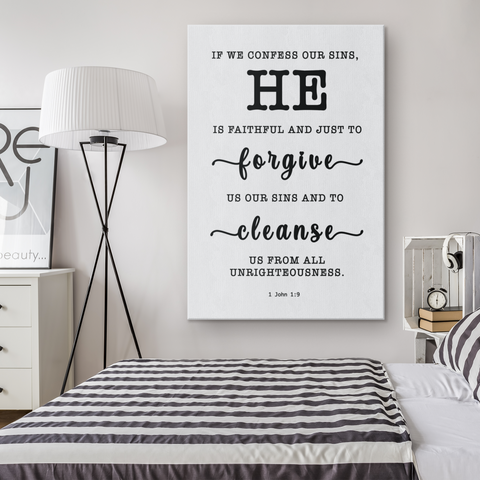 Minimalist Typography Framed Canvas - He Is Faithful And Just To Forgive ~1 John 1:9~