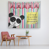 Uplifting Nursery & Kids Room Tapestry - Christ Strengthens Me ~Philippians 4:13~ (Design: Panda1)