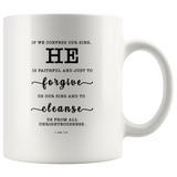 Typography Dishwasher Safe Accent Mugs - He Is Faithful And Just To Forgive ~1 John 1:9~