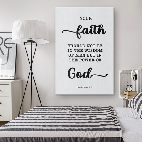 Minimalist Typography Framed Canvas - Faith In The Power Of God ~1 Corinthians 2:5~