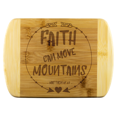 Bible Verses Wood Cutting Board - Matthew 17:20 (Design 7) - Meditate Healing Christian Store