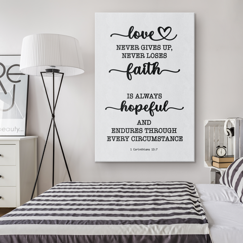 Minimalist Typography Framed Canvas - Love Never Gives Up ~1 Corinthians 13:7~