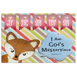 Hope Inspiring Nursery & Kids Bedroom Framed Canvas Wall Art - I Am God's Masterpiece ~Ephesians 2:10~ (Design: Fox)