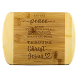 Typography Round Edge Organic Bamboo Wood Cutting Board - Guard Your Heart Through Christ Jesus ~Philippians 4:7~