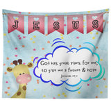 Hope Inspiring Nursery & Kids Bedroom Tapestry - God Has Great Plans For Me ~Jeremiah 29:11~ (Design: Giraffe 2)