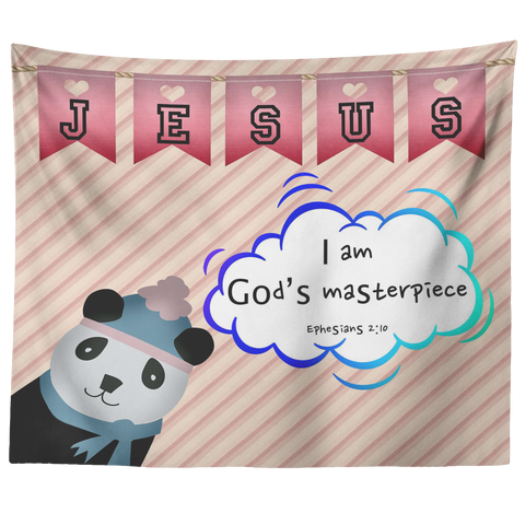 Uplifting Nursery & Kids Room Tapestry - I Am God's Masterpiece ~Ephesians 2:10~ (Design: Panda2)