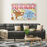 Hope Inspiring Nursery & Kids Bedroom Framed Canvas Wall Art - God Is With Me ~Isaiah 41:10~ (Design: Fox)