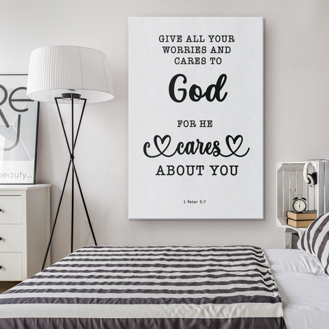 Minimalist Typography Framed Canvas - Casting Your Care Upon Him ~1 Peter 5:7~