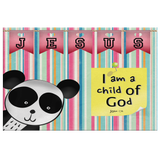 Hope Inspiring Nursery & Kids Bedroom Framed Canvas Wall Art - I Am A Child Of God ~John 1:12~ (Design: Panda 1)
