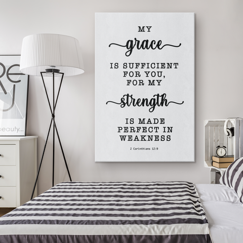 Minimalist Typography Framed Canvas - Strength Made Perfect ~2 Corinthians 12:9~