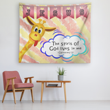 Hope Inspiring Nursery & Kids Bedroom Tapestry - Spirit Of God Lives In Me ~1 Corinthians 3:16~ (Design: Giraffe 1)