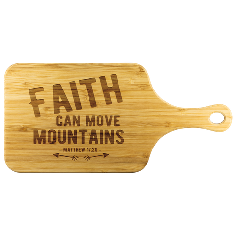 Bible Verses Wood Cutting Board With Handle - Matthew 17:20 (Design 1) - Meditate Healing Christian Store