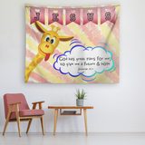 Hope Inspiring Nursery & Kids Bedroom Tapestry - God Has Great Plans For Me ~Jeremiah 29:11~ (Design: Giraffe 1)
