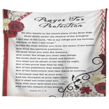 Bible Verses Tapestry Prayer for Protection ~Psalm 91:1-8~ (Design: Flower Frame 1)