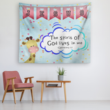 Hope Inspiring Nursery & Kids Bedroom Tapestry - Spirit Of God Lives In Me ~1 Corinthians 3:16~ (Design: Giraffe 2)
