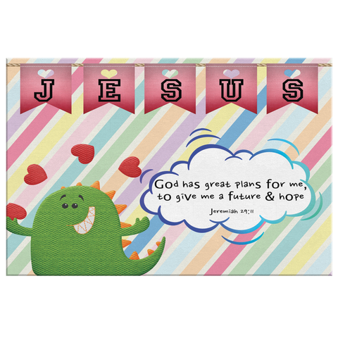 Hope Inspiring Nursery & Kids Bedroom Framed Canvas Wall Art - God Has Great Plans For Me ~Jeremiah 29:11~ (Design: Dinosaur)