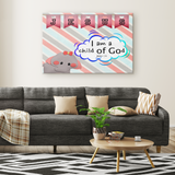 Hope Inspiring Nursery & Kids Bedroom Framed Canvas Wall Art - I Am A Child Of God ~John 1:12~ (Design: Elephant)