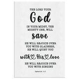 Minimalist Typography Framed Canvas - God In Your Midst ~Zephaniah 3:17~
