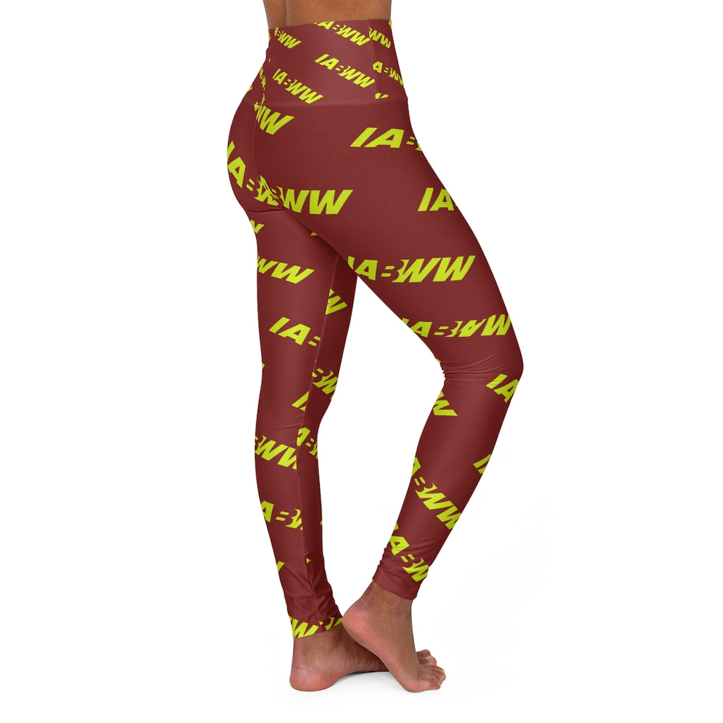 Maroon and Volt High Waisted Fitness Leggings