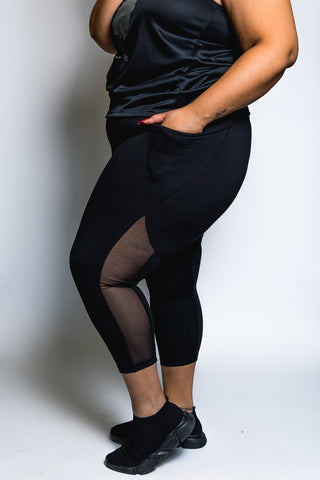 Plus Size Mesh Leggings with pockets