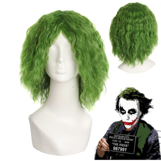 Movie Batman The Dark Knight The Joker Green Short Curly Wig Green Cosplay