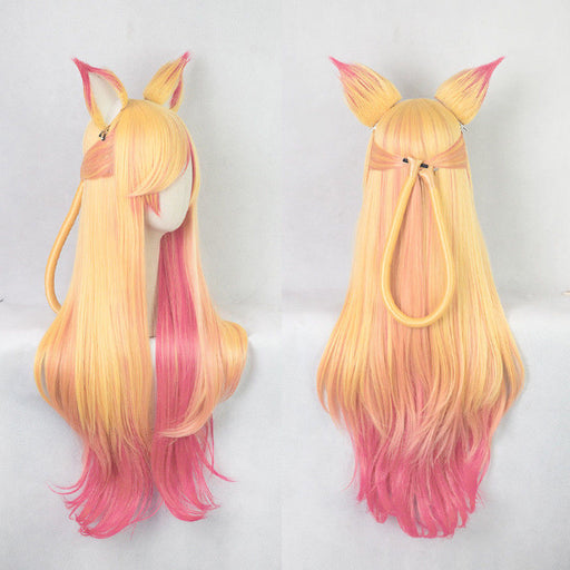 100cm LOL Ahri Gumiho Wigs Star Guardian the Nine Tailed Fox Cosplay Costume Wig + Wig Cap + Ears