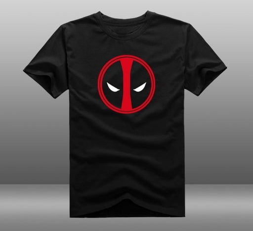 Deadpool Cosplay Costume Cotton Printed T Shirt Homme Black Boys Slim Halloween