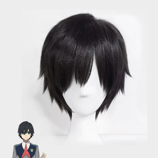 DARLING in the FRANXX 23cm/9.06inches Short Black Wig Japanese Cosplay Women Synthetic Hair+wig cap