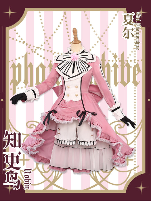 New Black Butler Ciel Phantomhive Lolita Pink cosplay costume Cloth Free Shipping