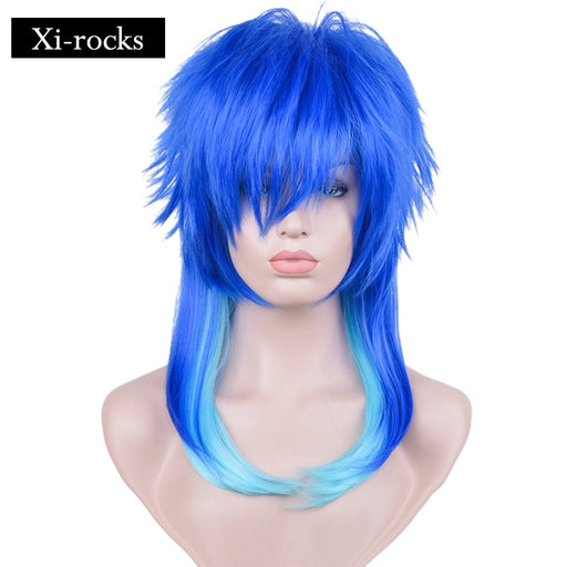 Seragaki Aoba Dramatical Murder Xi.rocks Synthetic Cosplay Costume Party Wig Two Tone Blue Ombre Hair