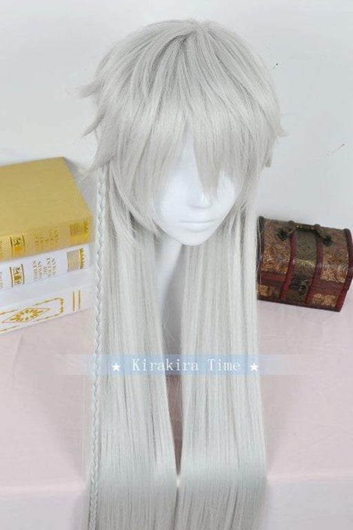"39"" 100cm Long Wig Anime Kuroshitsuji Black Butler Undertaker Under taker Heat Resistant Hair Silver Gray"