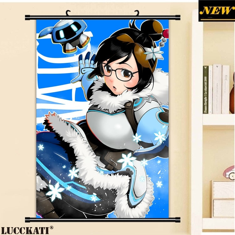 40X60CM Overwatch bodysuit loli cameltoe cartoon anime art wall picture mural scroll canvas painting poster
