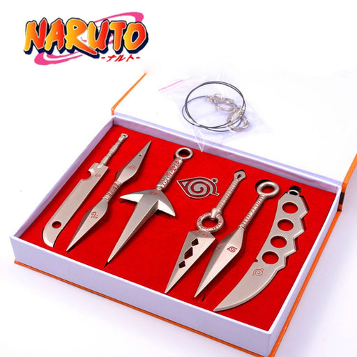 Kunai Shuriken Naruto 7Pcs Sets Pendant Ninja Cosplay Props Hand Sword Weapons Top Quality PVC Gift
