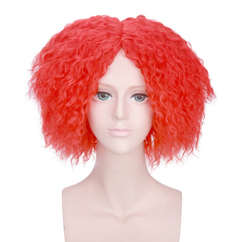 Alice in Wonderland Mad Hatter Short Curly Wig Cosplay Costume Tarrant Hightopp Synthetic Hair