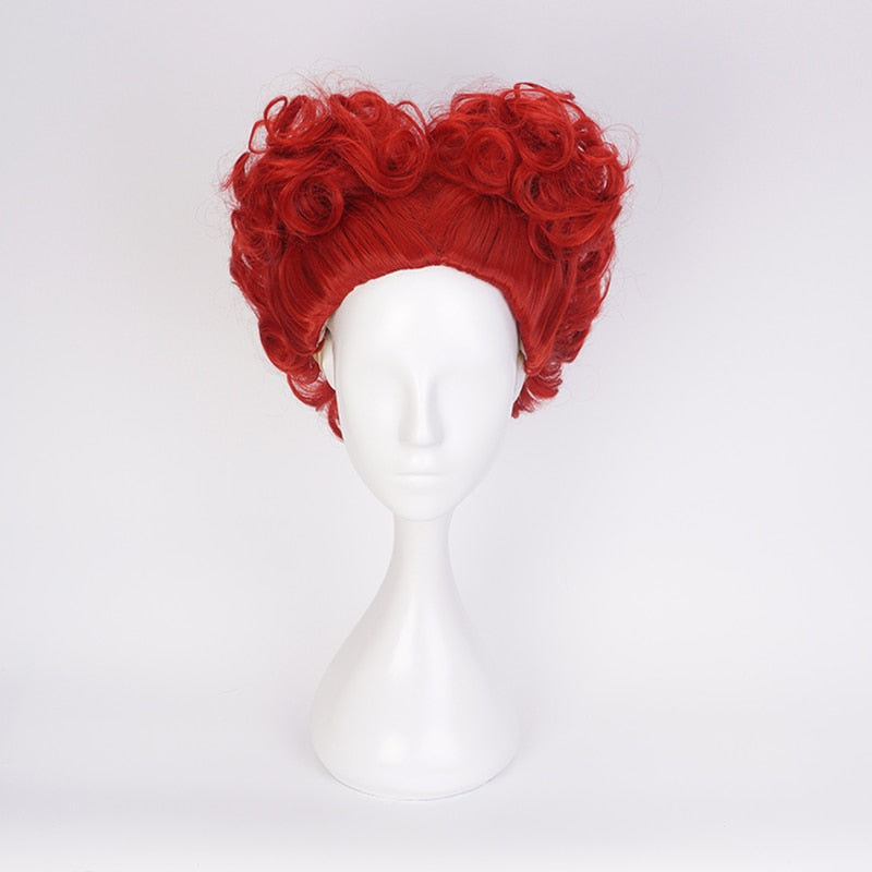 Short Curly Wig Alice in Wonderland The Red Queen Cosplay Costume Women Synthetic Hair