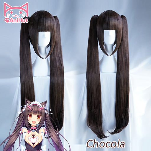 Chocola Wig NEKOPARA Chocolate 100cm Long Straight Wig Ponytail Brown
