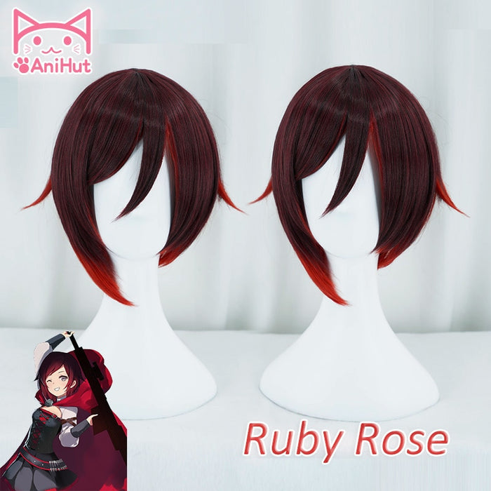 RWBY Ruby Rose Short Wig Black Red Mixed