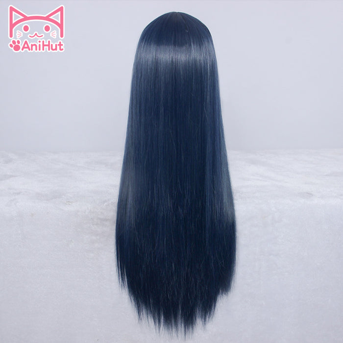 Tsushima Yoshiko Love Live Wig Sunshine Long Straight Wig Dark Blue