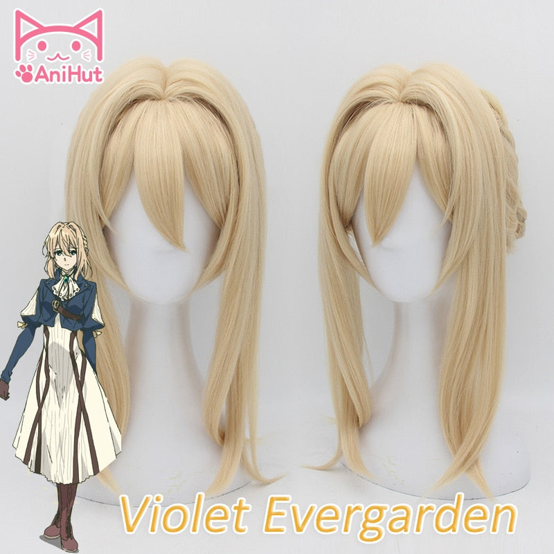 Violet Evergarden Medium Wig Blonde Pigtail Hair Bun