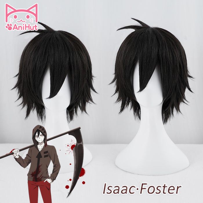 Angels of Death Isaac Foster Zack Costume Short Black Cosplay Wig Need Style